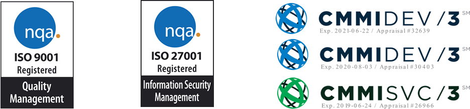 Phacil ISO & CMMI Certification Logos